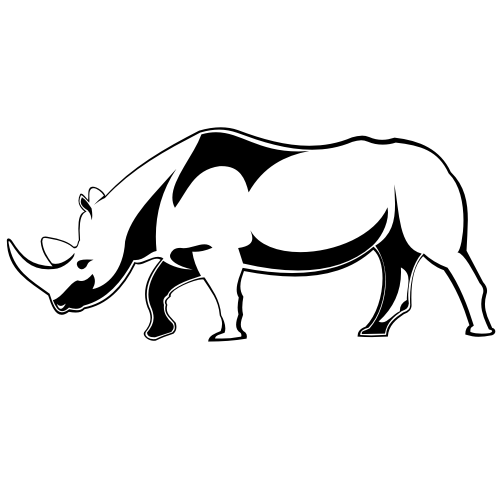 Free Line Art Black & White Rhino