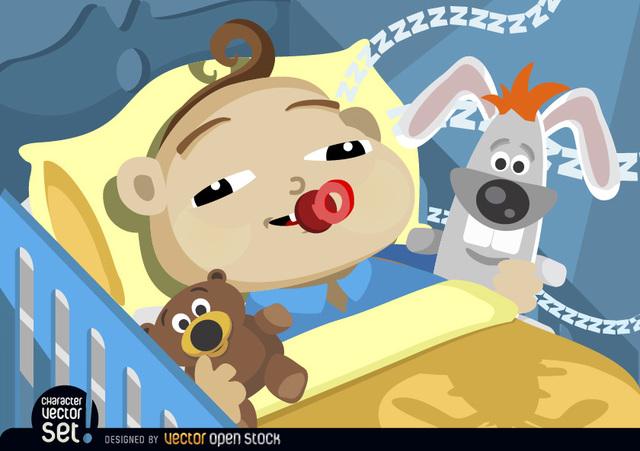 Free Baby falling asleep in cradle