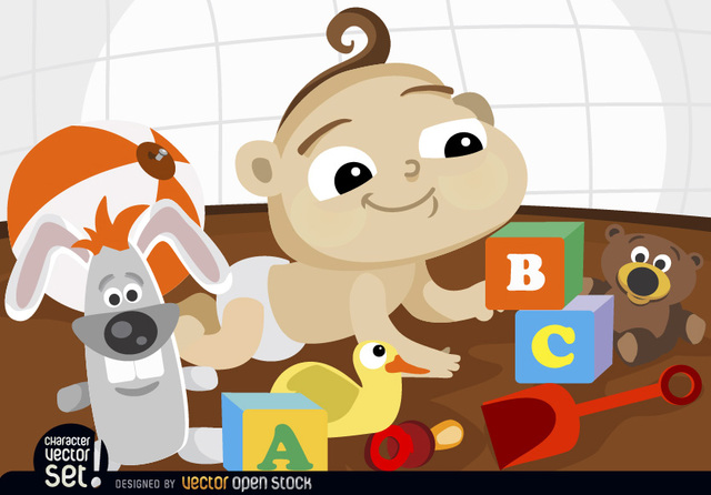 Free Cartoon baby playing with toys