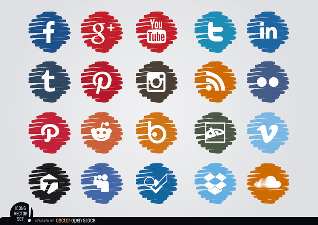 Free Social media distorted circle icons set