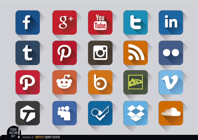 Free Vectors: Social media square embossed icons set | Vector Open Stock