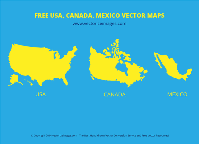 Map Of Usa Canada.Free Vectors Usa Canada Mexican Flat Map Vectorize Images