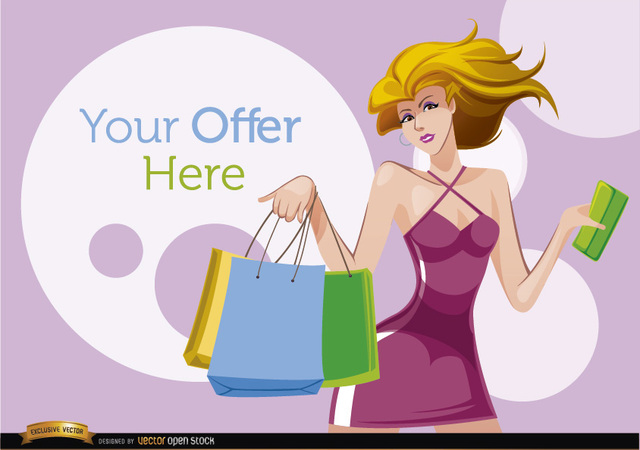 Free Shopping cartoon woman with offer circles
