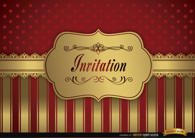 Free Wedding invitation red golden frame fringes