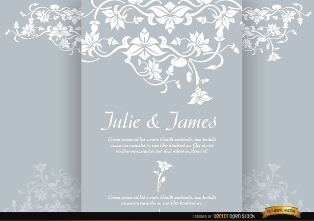 Free Floral triptych brochure marriage invitation