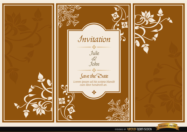 Free Floral triptych brochure wedding invitation