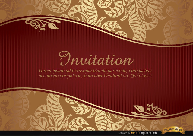 Free Marriage invitation with riband and pattern