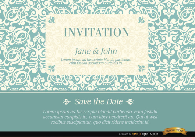 Free Marriage invitation with elegant frame pattern