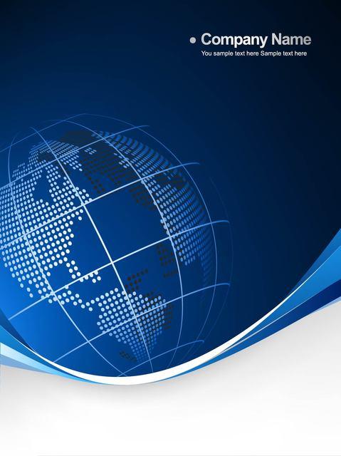 Free Blue Globe Curvy Edge Business Background