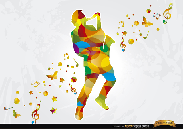 Free Colorful saxophonist musical background