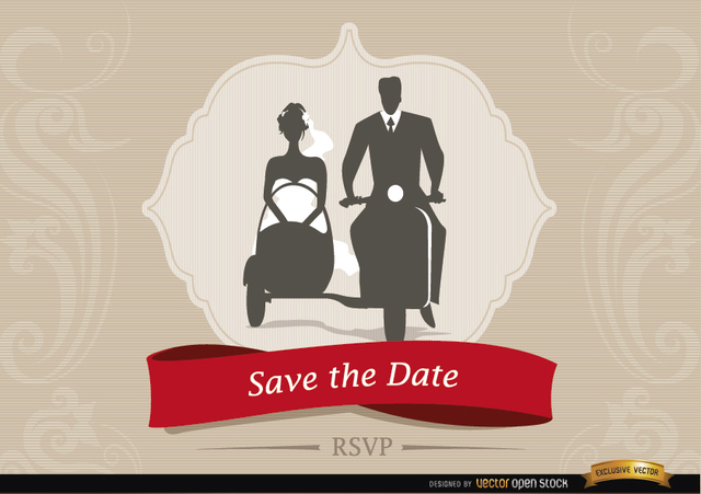 Free Wedding invitation with Sidecar Couple