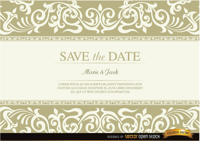 Free Wedding invitation with floral fringes