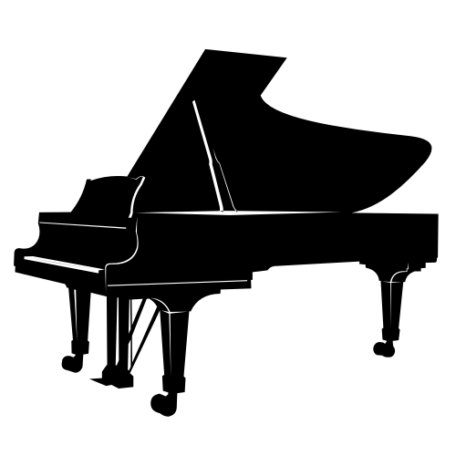 Free Black and White Piano Silhouette