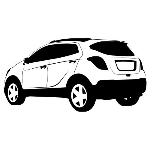 Free Black & White Hand Traced Opel Mokka SUV
