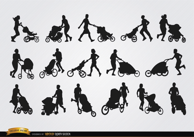 Free Parents with baby carriage silhouettes