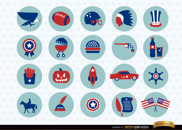 Free USA national symbols icons pack