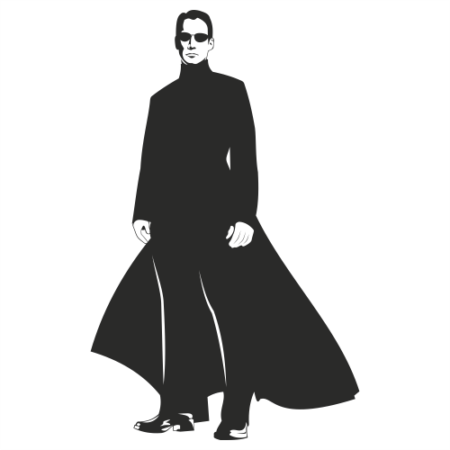 Free Neo Matrix Silhouette Portrait of Keanu Reeves