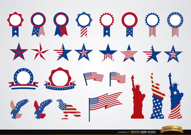 Free Vectors: USA round ribbons and decoration set  | Vector Open Stock