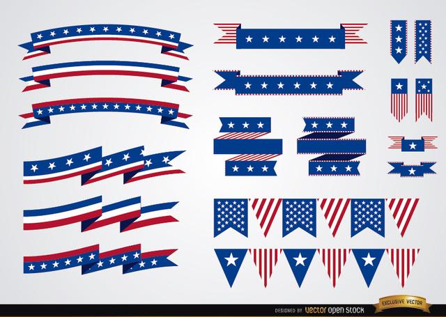 Free Vectors: USA colors ribbons set  | Vector Open Stock