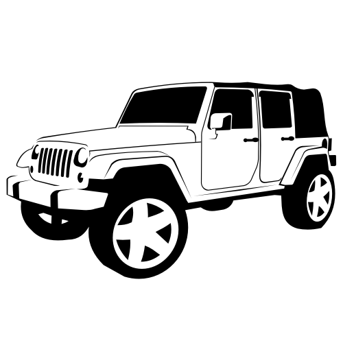 Free Black & White Hand Traced Jeep Wrangler