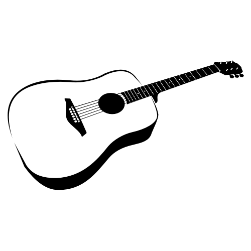 Free Hand Traced Black & White Guitar