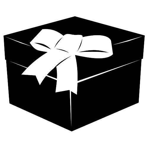 Free 3D Black & White Flat Gift Box with Ribbon