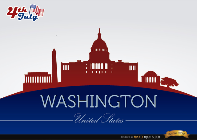 Free Vectors: Washington city silhouettes on July 4th  | Vector Open Stock