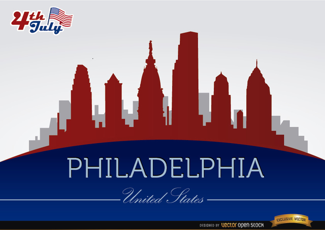 Free Philadelphia skyline on July 4th commemoration