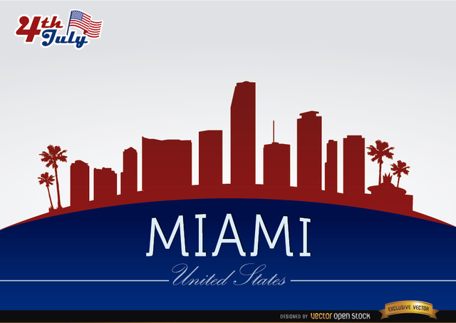 Free Miami skyline on July 4th commemoration