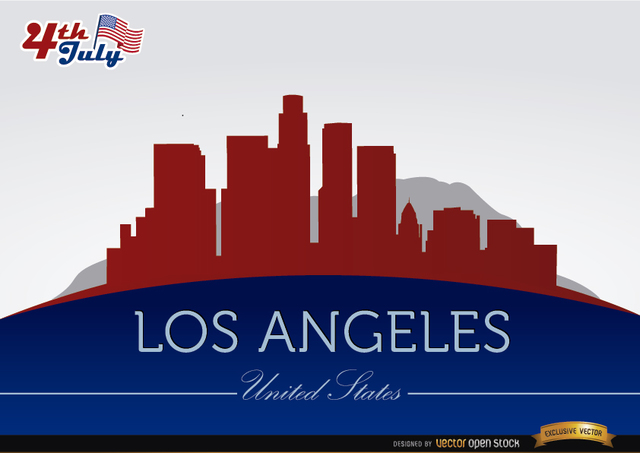 Free Los Angeles city silhouettes on July 4th