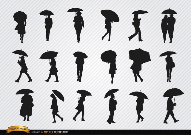 Free People walking with umbrella silhouettes set