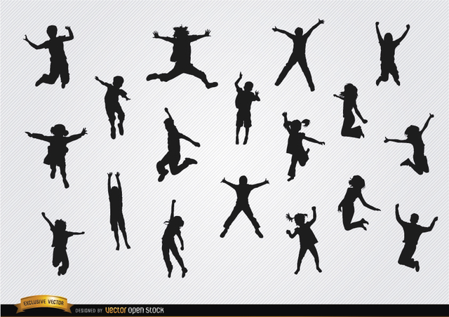 Free Children jumping silhouettes pack