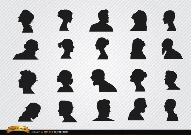 Free Profile silhouettes set