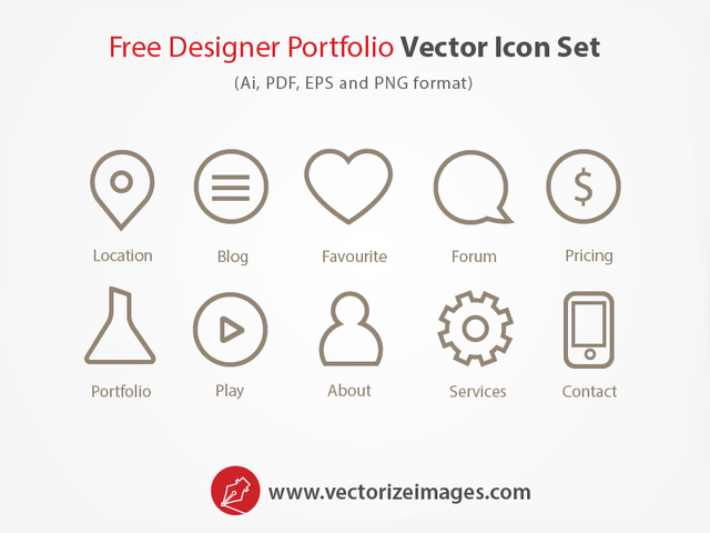 Free Designer Portfolio Outlined Icon Set