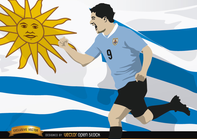 Free Luis Suarez with Uruguay flag