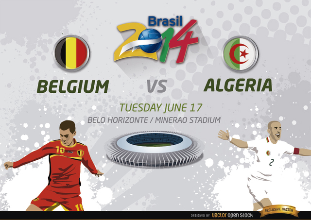 Free Vectors: Belgium Vs. Algeria match for Brazil 2014 | Vector Open Stock