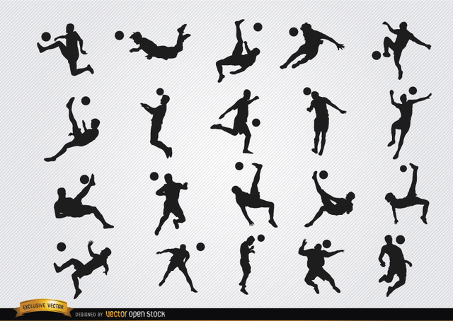 Free Soccer players' hitting ball jumping silhouettes