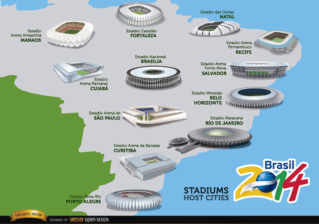 Free Stadiums hosts cities Brazil 2014 map