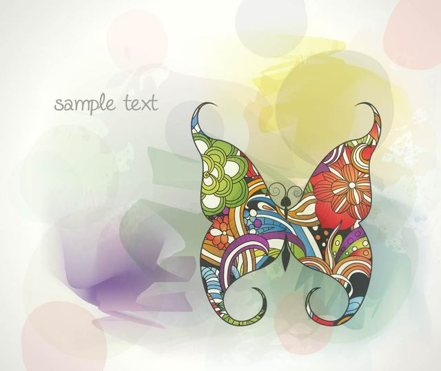 Free Colorful Abstract Background with Butterfly