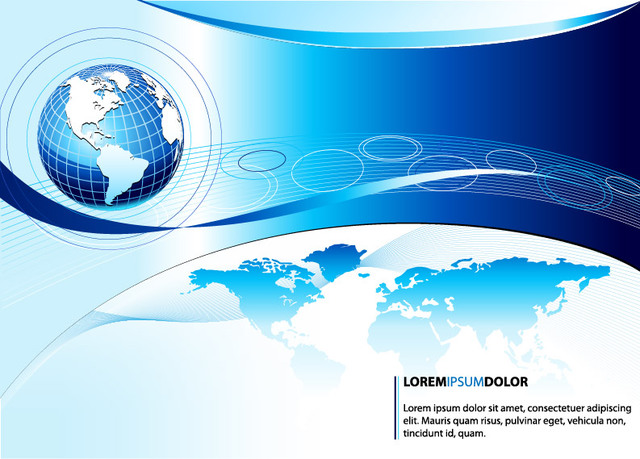 Free Blue Business Globe Background Template