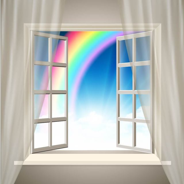 Free Realistic Interior Background with Rainbow