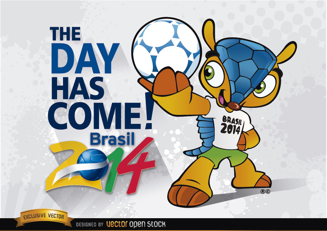 Free Vectors: Brazil 2014 Begins with mascot Fuleco  | Vector Open Stock