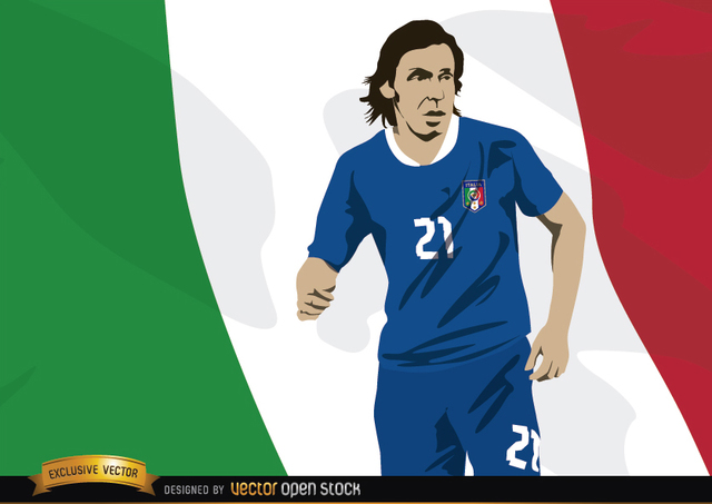 Free Italy footballer Andrea Pirlo with flag