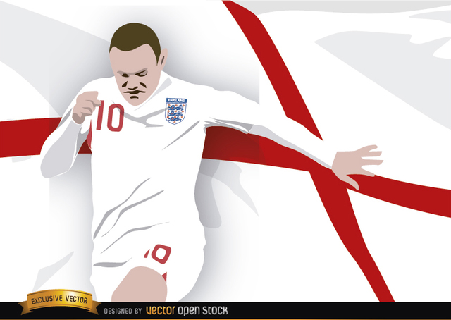 Free England footballer Wayne Rooney with flag