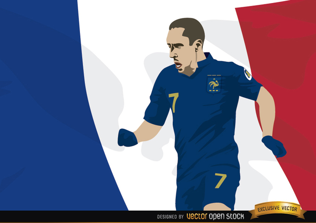 Free France player Franck Ribery with flag