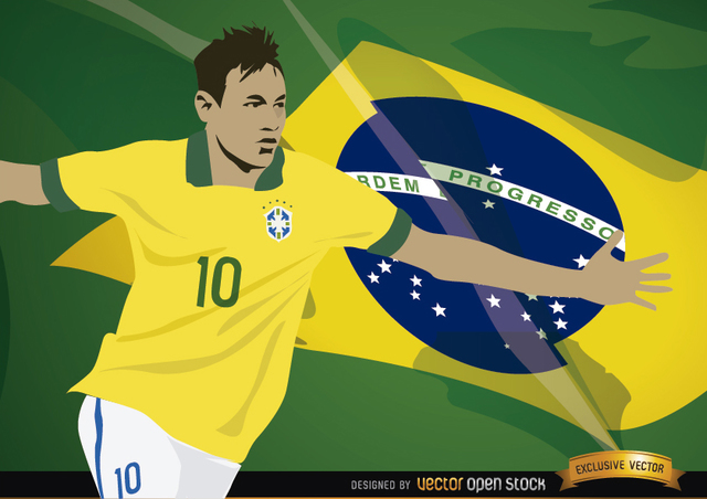 Free Football player Neymar with Brazil flag