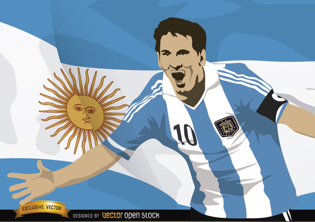Free Football player Messi with Argentina flag