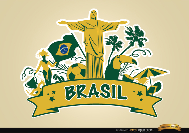 Free Brasil ribbon with major touristic attractions