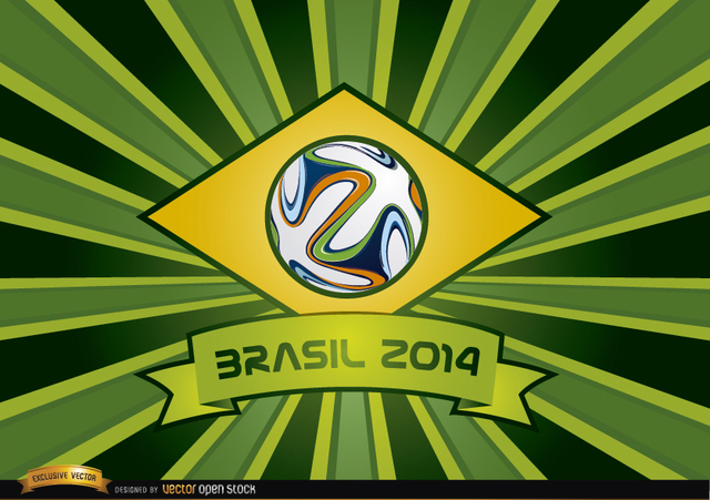Free Brasil 2014 ribbon and beams background