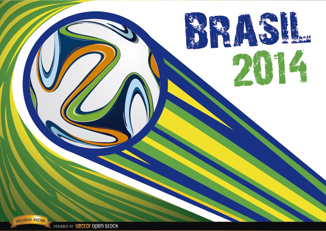 Free Vectors: Brazil 2014 ball thrown with stripes | Vector Open Stock